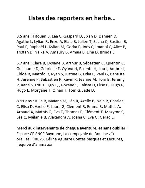 Liste des reporteurs en herbe Tichina